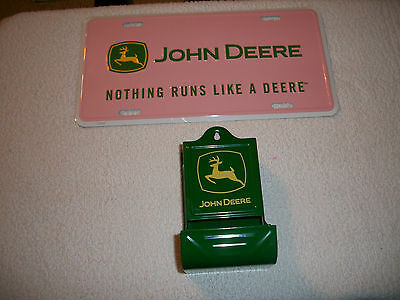 John Deere Match Holder & Pink License Plate - New!
