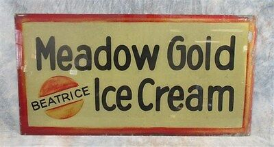 34x18 Meadow Gold IceCream Beatrice Reverse Paint Glass Vintage Advertising Sign