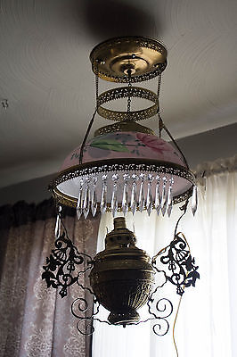 OLD Bradley Hubbard Hanging Brass Lamp Chandelier prisms Numbered Lotus shade