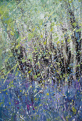 Bluebell Woods. Trees / Landscape Art. Original Acrylic Painting.