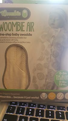 WOOMBIE AIR Newborn SWADDLE Off-White 0-3m 5-13 lb Soft Stretchy Ivory Cream NEW