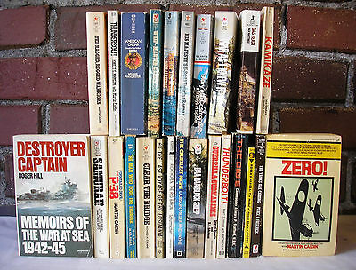 Military paperback Lot 25 Martin Caidin War WWII Flight Airplanes Ships Sea Navy