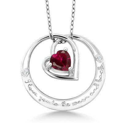 "925 Sterling Silver ""I love you to the moon & back"" Created Ruby Diamond Pendant"