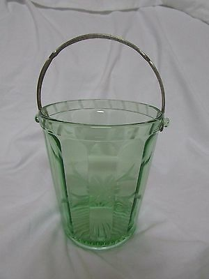 "Green Depression Glass Elegant Ice Bucket with Handle, 6""H x 6""W at top"