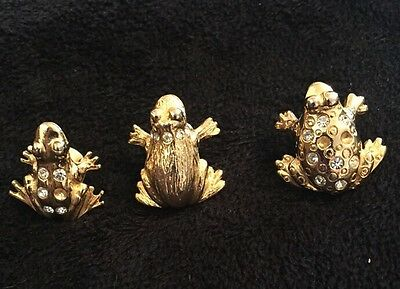 Trio of Frog Pins With Rhinestones. Gold-tone, Preowned