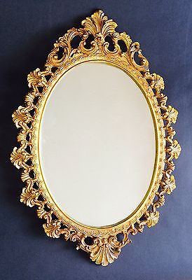 Lovely Vintage Oval Ornate Gilded Wall Mirror