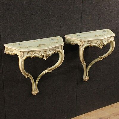Pair Venetian console tables furniture lacquered wood antique style 900 cabinet