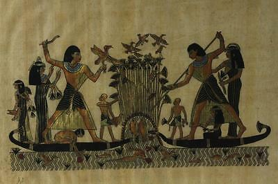 EGYPTIAN PAPYRUS Original Art Hand Painted FISHING HUNTING Menna Nakht Scribe