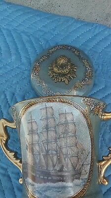 Antique French Sevres Style Porcelain & Brass Urn