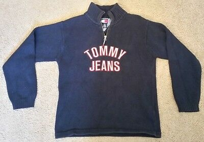 Tommy Hilfiger Tommy Jeans Spell Out Pull over Half Zip Sweater Large L YOUTH