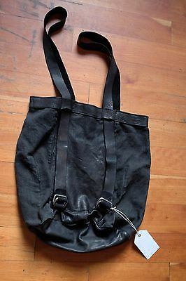Guidi Black Linen And Leather Backpack Tote Bag
