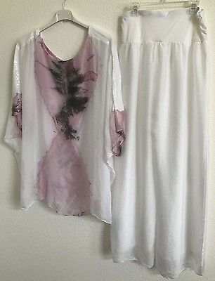 Women's Free Flowing Silk Top Blouse and pant Italian Designer Scandal One Size