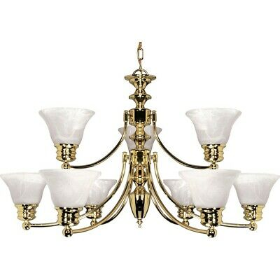 "Nuvo Empire 9 Light 32"" Chandelier w/ Glass Bell Shades - 60-361"