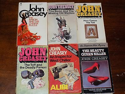 Lot of 6 John Creasey books PB - Baron, Toff, Inspector West, etc