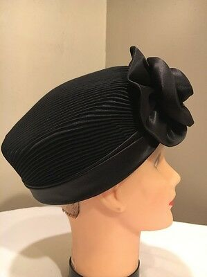 VTG Pillbox Hat  Black with Pleated Crown And Satin flower EVC!!!