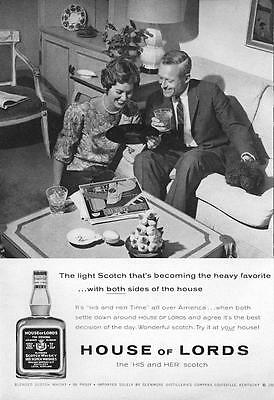 1960 House of Lords PRINT AD His and Hers Scotch