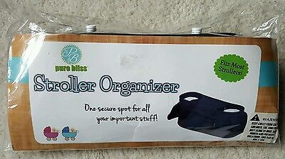 Pure Bliss Baby Stroller Organizer, Collapsible, Fits Most Strollers Black, New