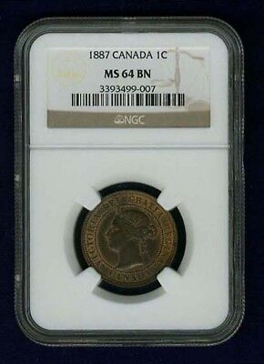 Canada Victoria  1887  Large Cent, Choice Uncirculated,  Certified Ngc Ms64-Bn