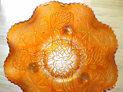 FENTON carnival glass WATER LILY LOTUS poinsettia BOWL large footed MARIGOLD