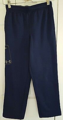 Boys Youth Kids Under Armour STORM Navy Blue Athletic Gym Pants Loose Fit YMD