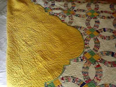 Antique Quilt Wedding Ring Vintage 1930 1940 Hand Quilted Sunshine Yellow Back