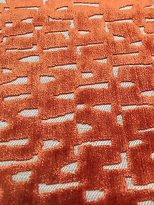 Villa Nova Geometric Cut Velvet Upholstery Fabric Vali Orange 8.0 yd V3122/12