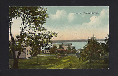Sturgeon Bay Wisconsin WI c1915 The Cove Resort, Old Car, Cabins, Gazebo by Lake