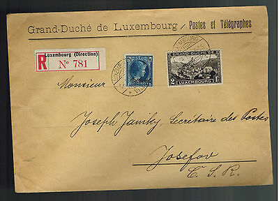 1930 Luxembourg Cover Registered to Czechoslovakia Official Stamps