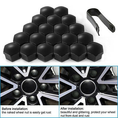20Pcs Universal 17mm Car Wheel Tire Bolt Nut Cap Protect Cover +Tool Black New