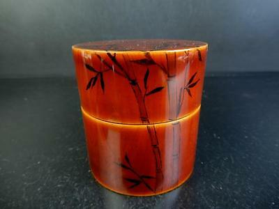 F6526: Japanese Wooden Hida Shunkei Lacquer ware TEA CADDY Chaire Natsume
