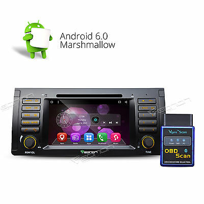 """US OBD-II 7""""Android 6.0 Car DVD Player Stereo GPS CD for BMW X5 E53 Bluetooth A"""