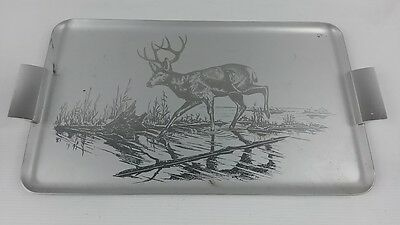 Retro/vintage metal/Aluminium drinks/serving tray etched Deer