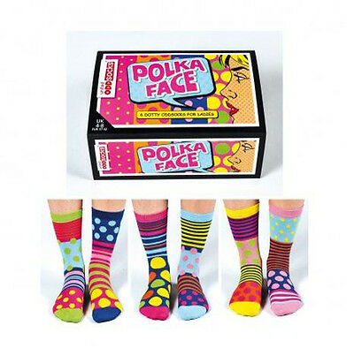 United Oddsocks Polka Face - Ladies Socks - Quirky Gift Idea for Friends