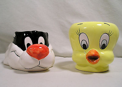 Collectible Tweety Bird Sylvester Cat Mugs, Warner Bros. Looney Tunes Coffee Cup