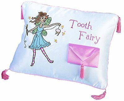 """Baby Tooth Fairy Embroidered Pillow, Poly/Cotton Blend, Accessory Gift, 12"""" X 9"""""""