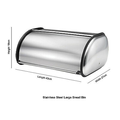 New Quality Stainless Steel Roll Top Bread Bin Storage Loaf Bread Rolls Large