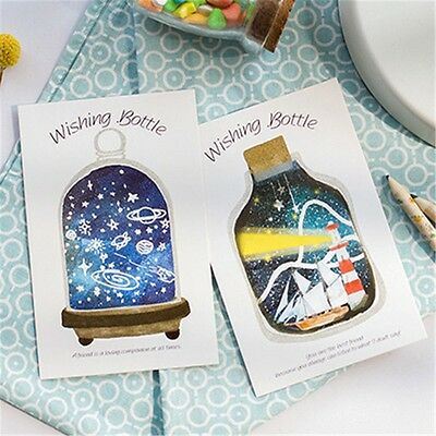 30 pcs set cartoon wishing bottle postcard greeting card fluorescent postcards