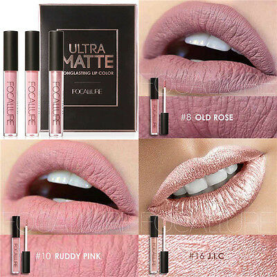 FOCALLURE 3pcs Ultra Matte & Metallic Long Lasting Lip Gloss Lipstick Makeup Set