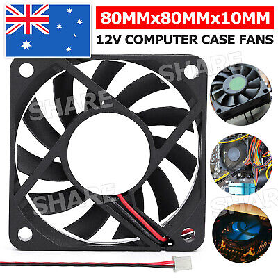 80x80x10mm DC 12V Brushless Silent Computer PC Case Cooling Cooler Fans Black