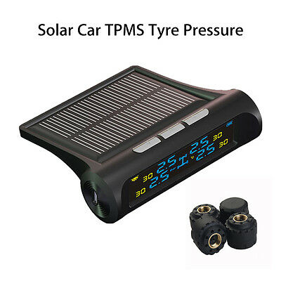 Car TPMS Tire Tyre Pressure Monitoring System Solar Energy LCD Display 4 Sensors