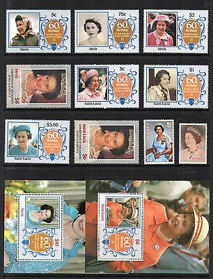 1986 OMNIBUS QEII 60 Birthday STAMP COLLECTION Nevis St Luci Aust Jersey RE:OR14