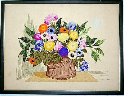 Petite Point Flower Pail Bouquet Needlepoint Art Embroidery Vintage Art Crewel