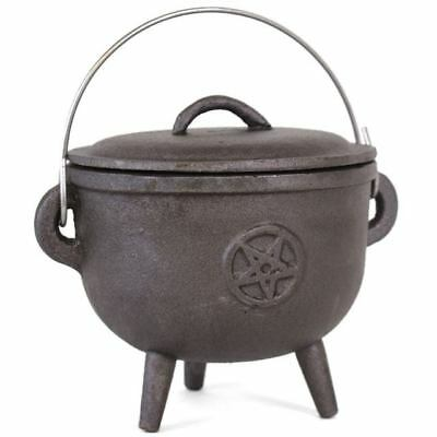 Cast Iron Cauldron Pot Witches Wicca Pagan Gothic PENTAGRAM With Handle