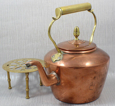 Large Antique Victorian Copper Brass Kettle Teapot Country Kitchen Kitchenalia