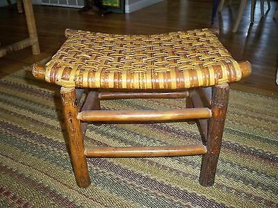 Antique ~ Old Hickory Martinsville IN ~ Foot Stool  ~ 1935 Brass Tag