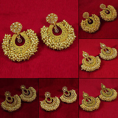 Goldtone Traditional Bollywood Dangle Earrings Designer Jewelry BSE132-PAR