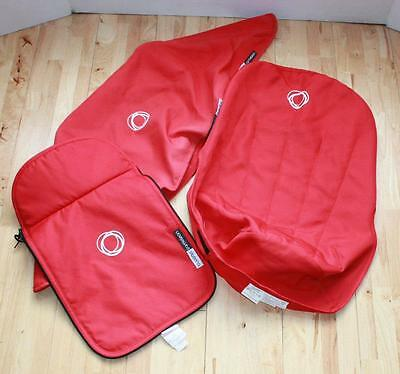 Bugaboo Cameleon Red Canvas Tailored Colour Fabric Set Hood Apron & Seat Liner