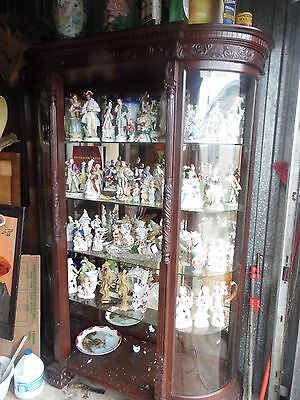 Antique R. J. Horner Large Curved Glass China Cabinet All Beveled Glass
