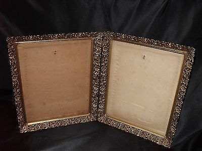 Antique Victorian Double Gold Metal Frame- Intricate Open Work- Glass- Ornate