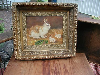 Primitive oil on canvas painting of BUNNIES...Mother and babies